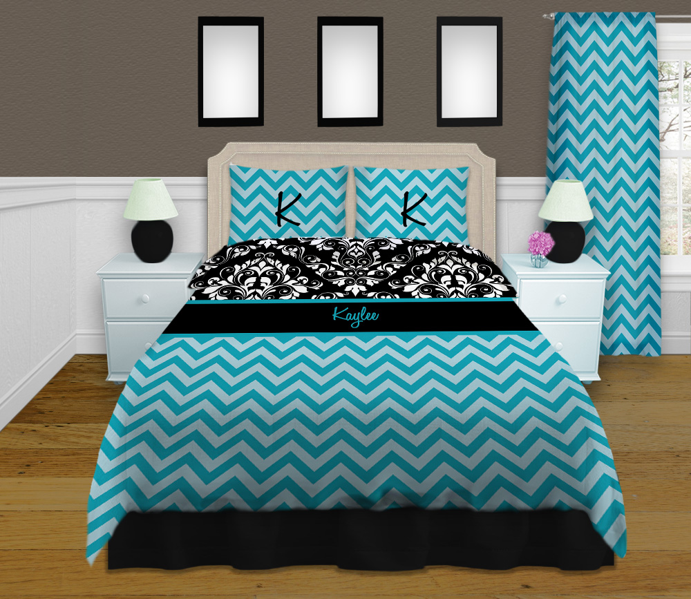 Blue Chevron King Comforter Set Damask Black And White