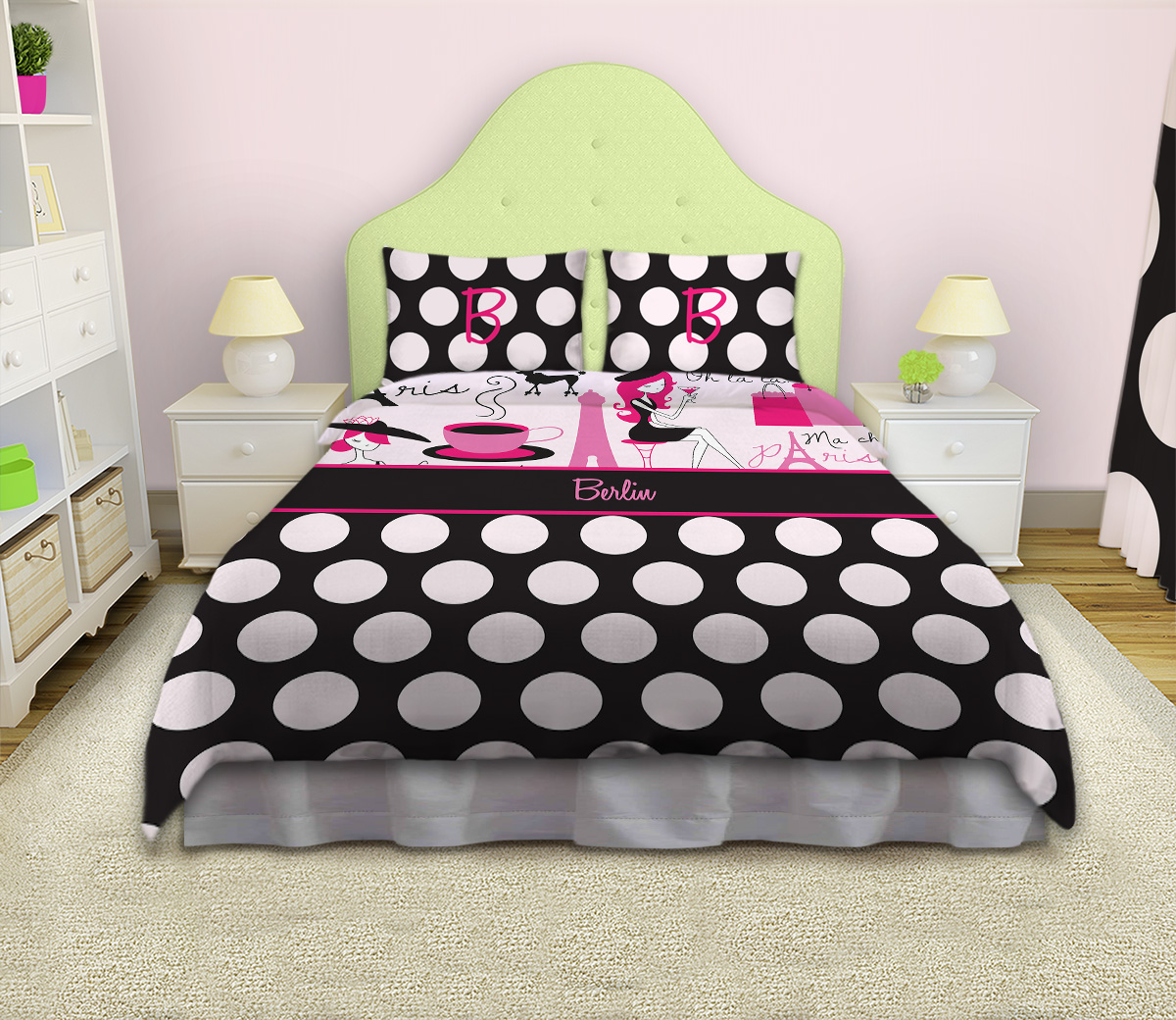 Paris Themed Pink And Black Bedding Set Girls Pink And