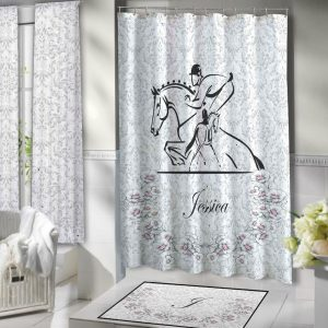 Victorian Horse Shower Curtain, Fabric Designer Shower Curtains #107