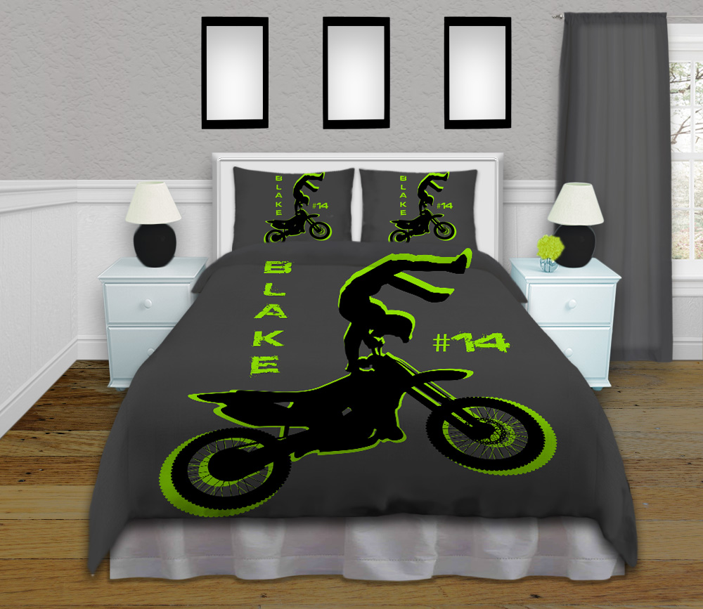 Green And Gray Motocross Boy Comforter Set Kids
