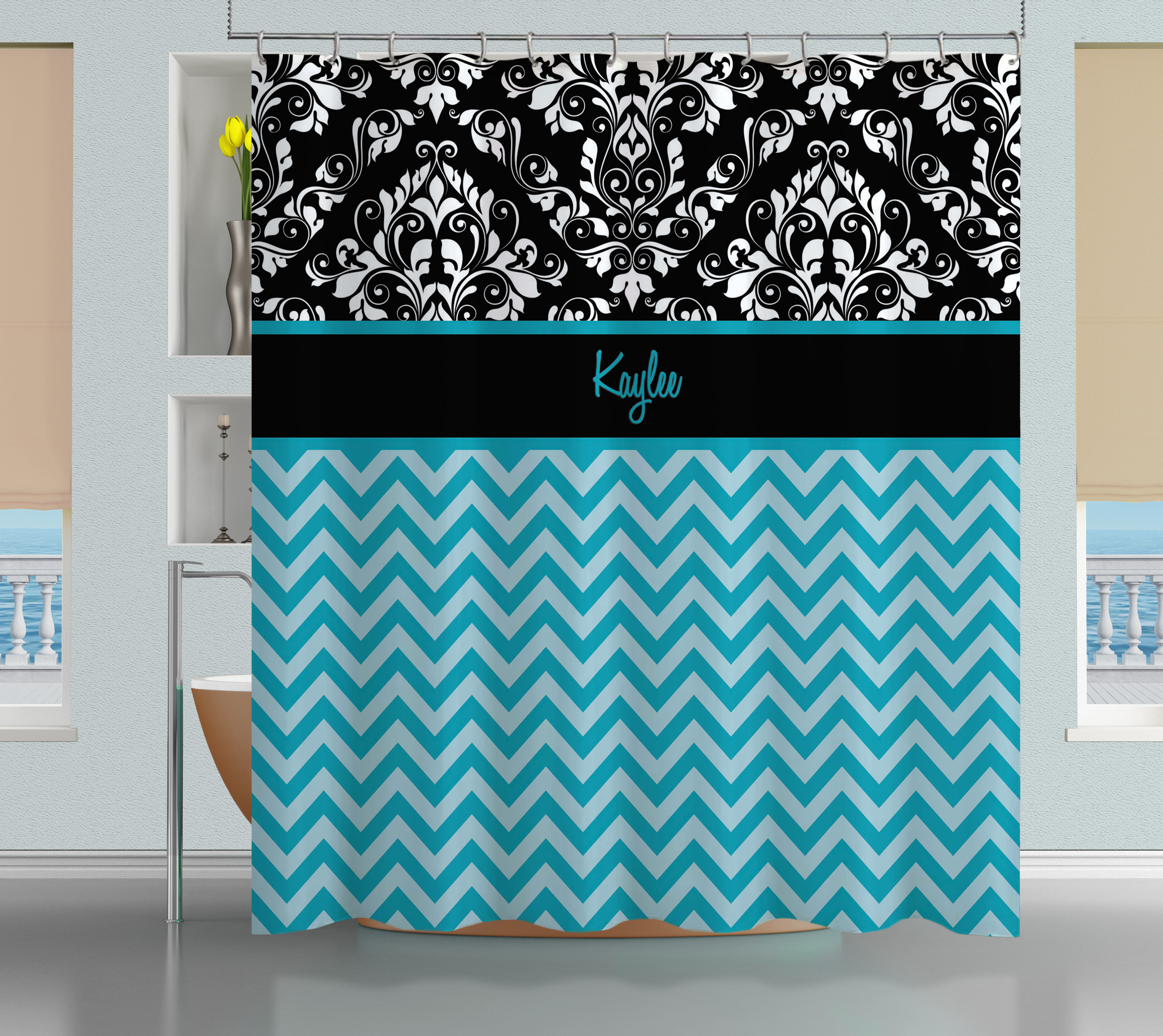Blue Chevron And Black And White Damask Shower Curtain Black Fabric Extra La