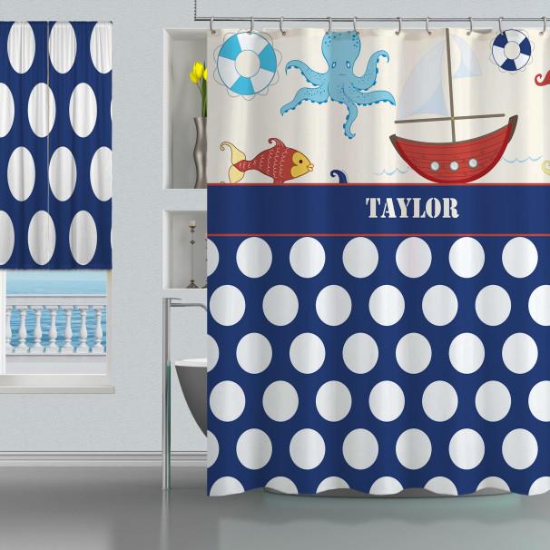 Nautical Bathroom Curtains: Boys Nautical Shower Curtain, Coastal Sailboat Bathroom