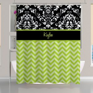 Personalized Black And Green Shower Curtain White Damask Curtain1