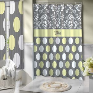 Yellow Gray And White Shower Curtain Polyester Cloth Damask Pattern3