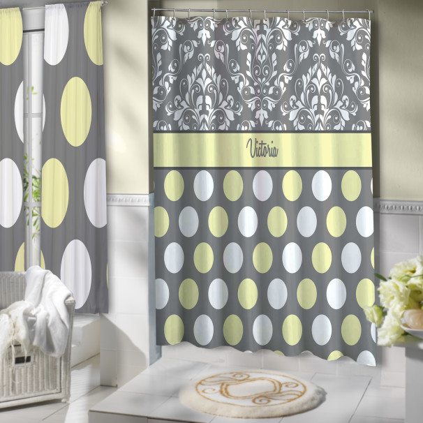 Yellow Gray And White Shower Curtain Polyester Cloth