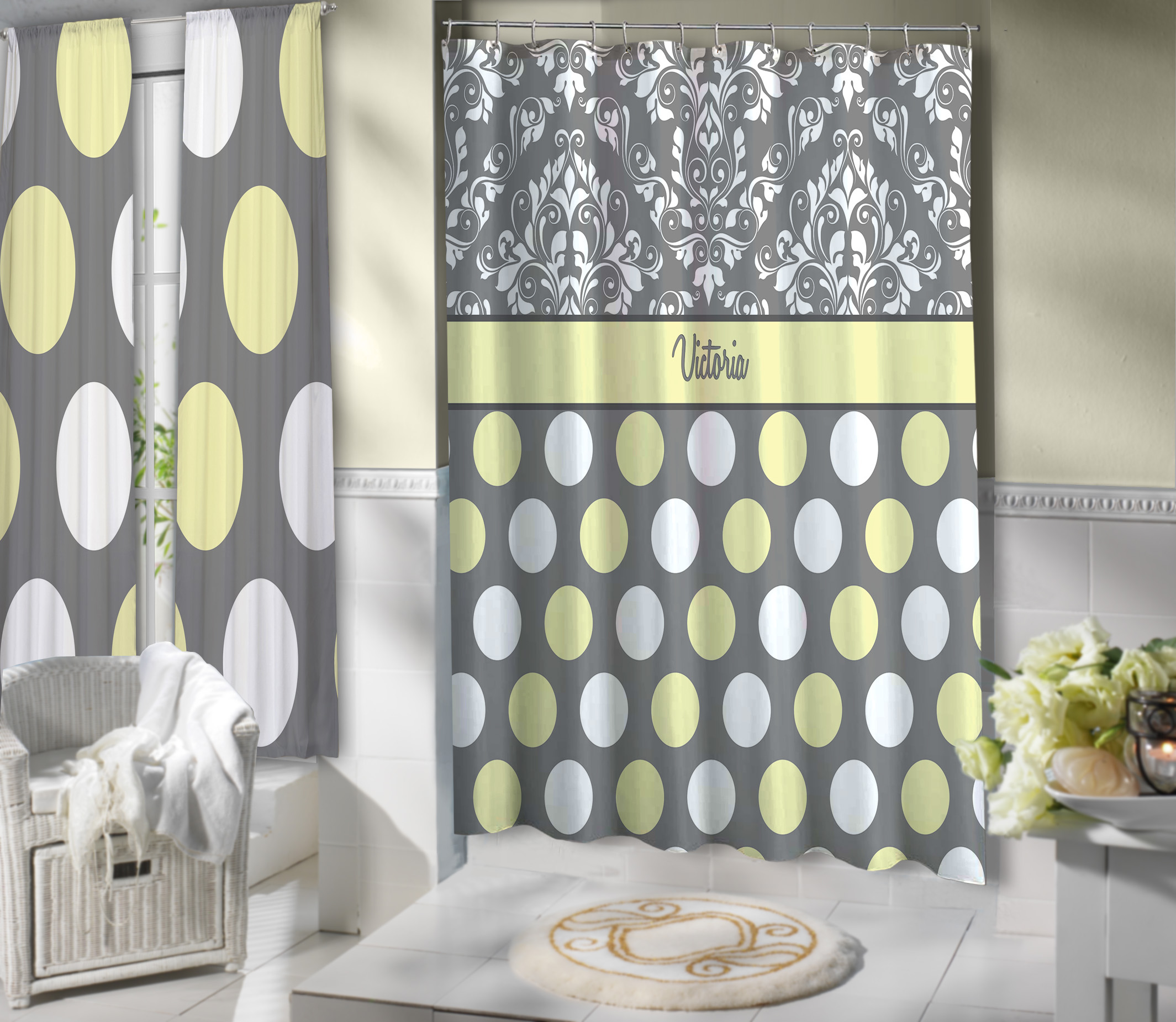 Dots Yellow Bathroom Gray Damask Shower Curtain