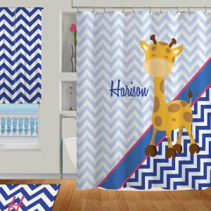Linen Giraffe Shower Curtain With Grommets Personalized Blue Chevron Curtain7