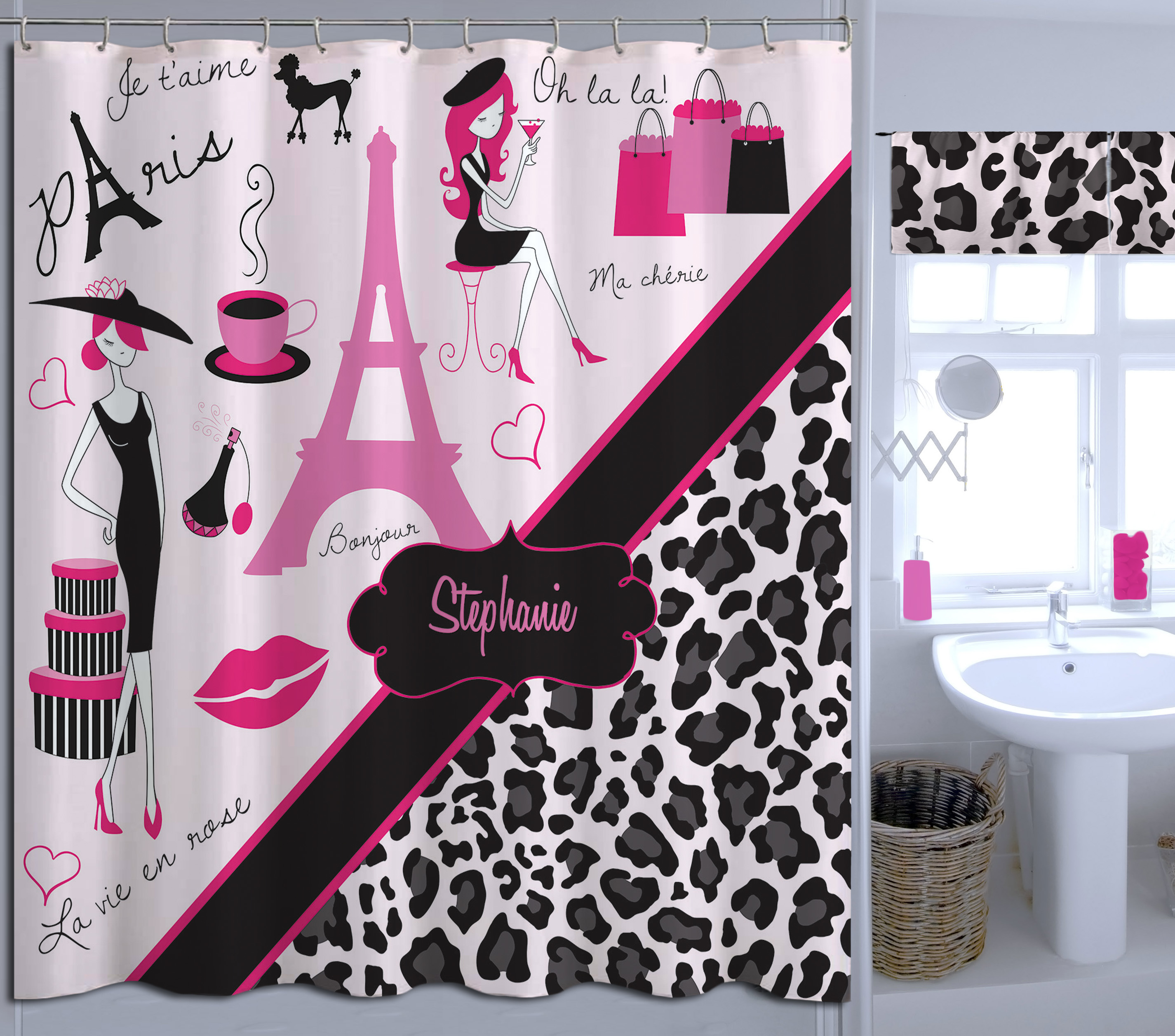 Kids Grey Amp Pink Cheetah Print Shower Curtain Paris