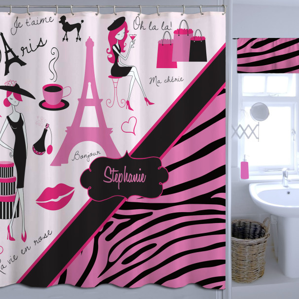 Zebra Print Pink Shower Curtain Paris And Animal Print