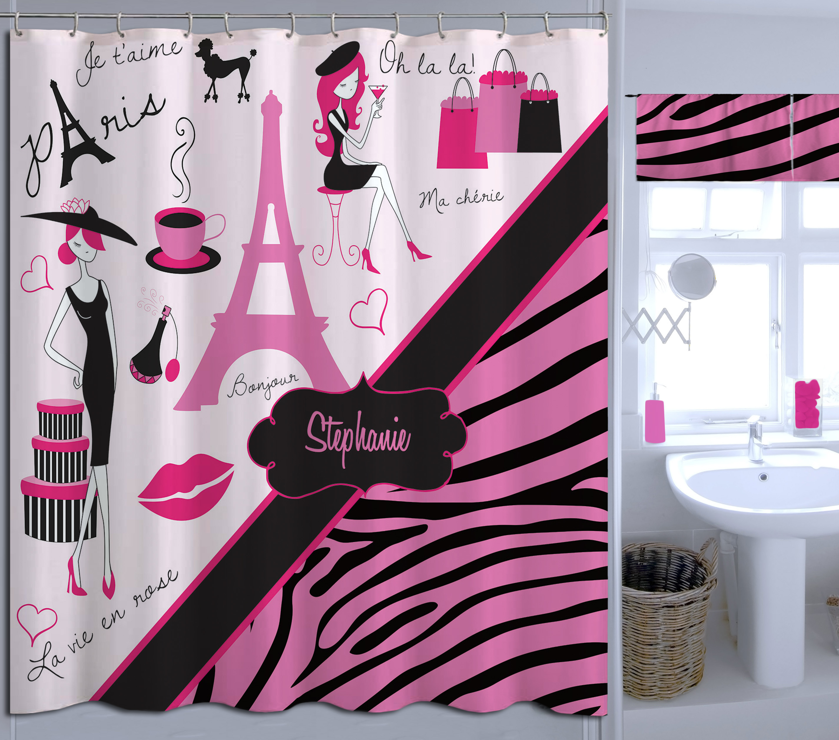 Zebra Print Pink Shower Curtain Paris And Animal Custom