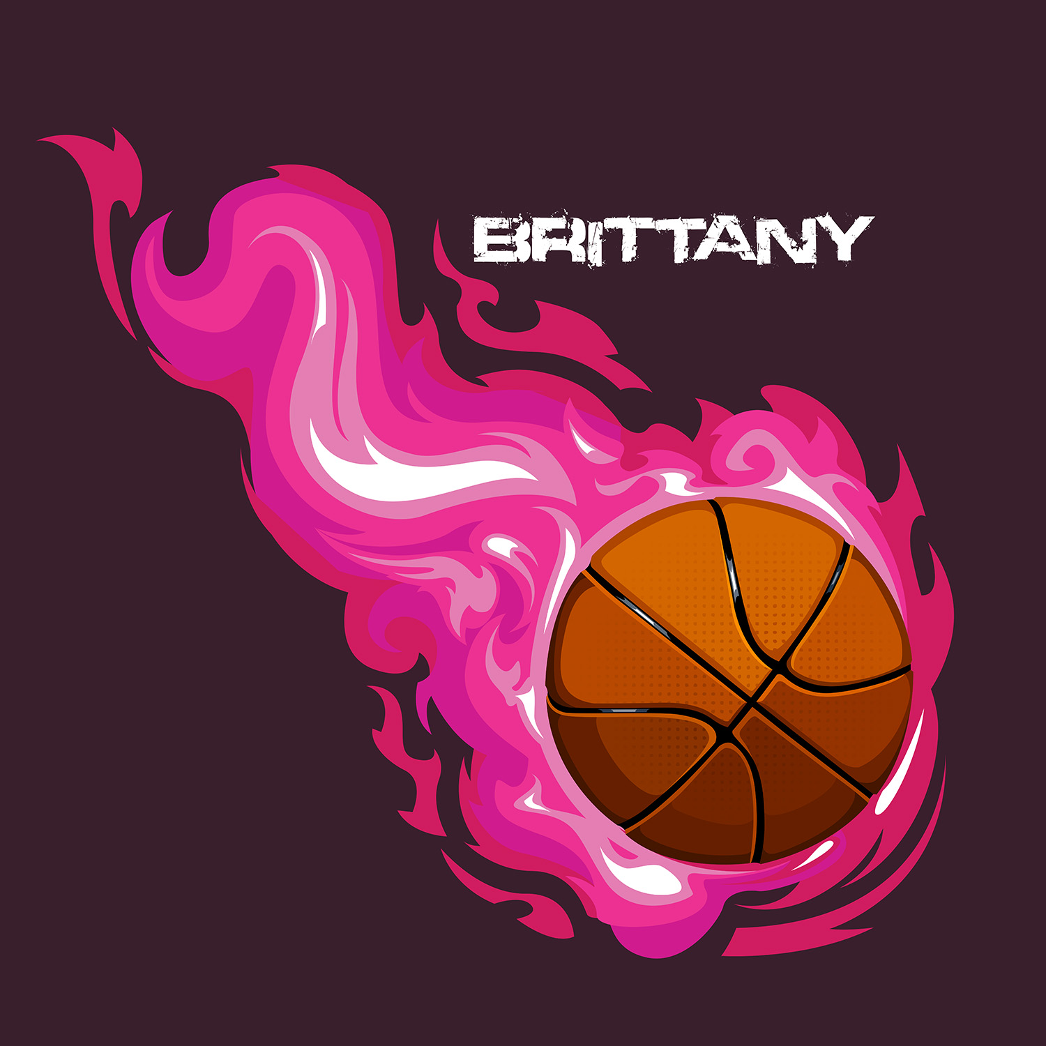 Girls Basketball Themed Bedding Set with Pink Flames and ...