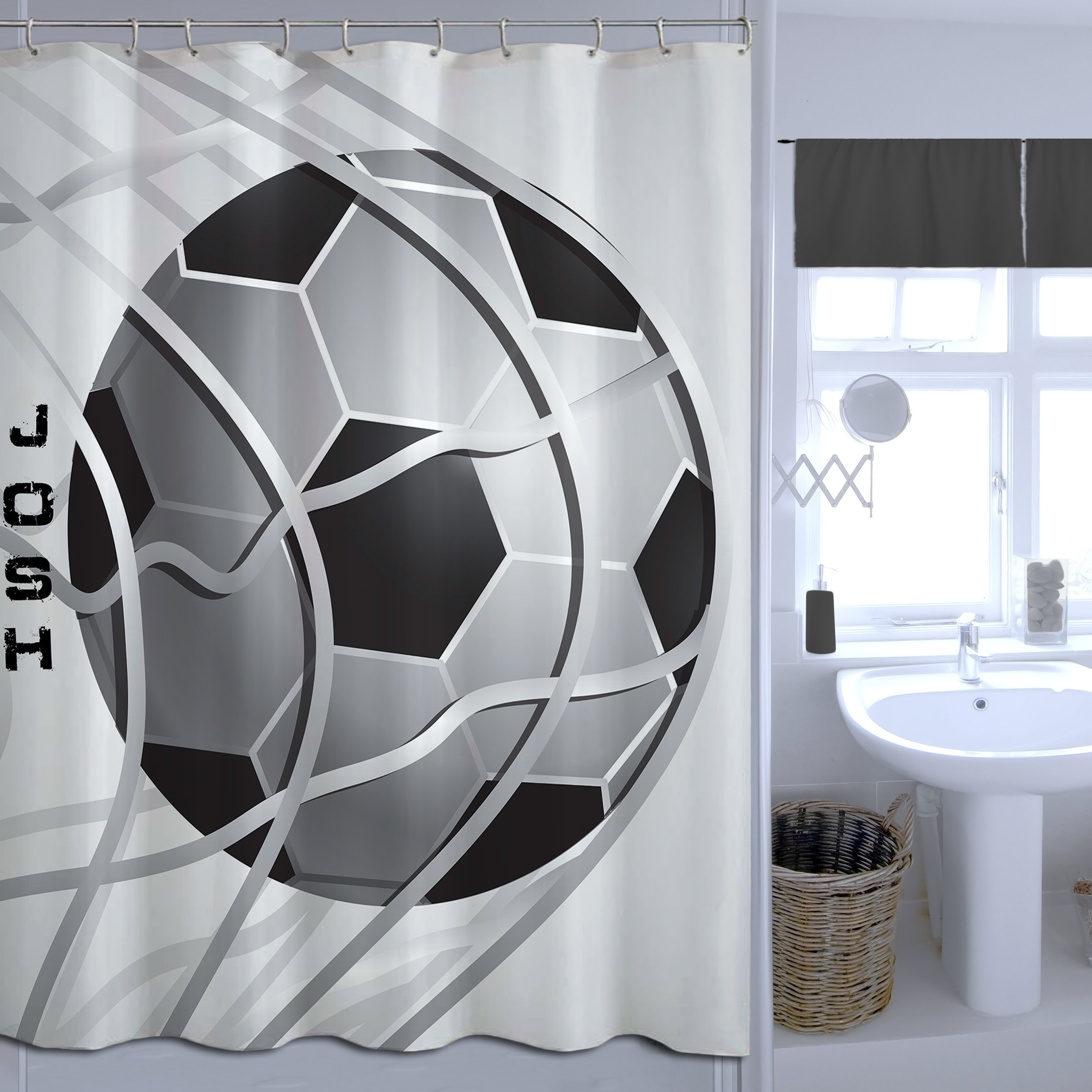 black and white soccer shower curtain kids fabric sports