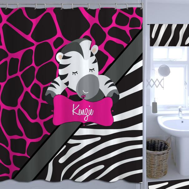 Personalized Zebra Print Pink Shower Curtain Girly Fabric