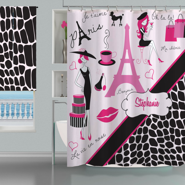 Teen Animal Print Paris Bathroom Shower Curtain Black