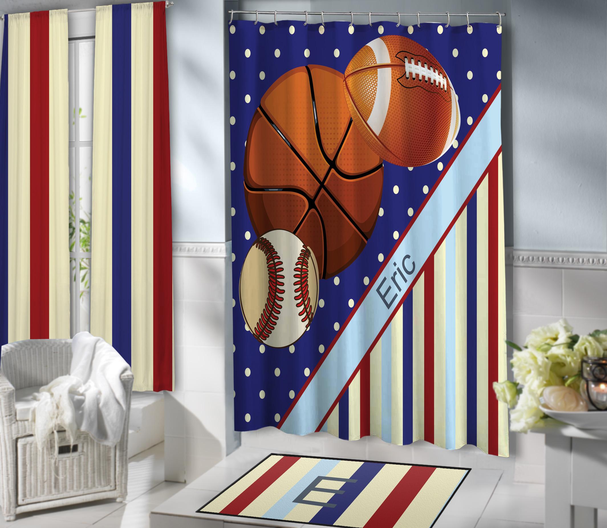 Blue boys sports themed shower curtain with baseball for Sports themed bathroom ideas