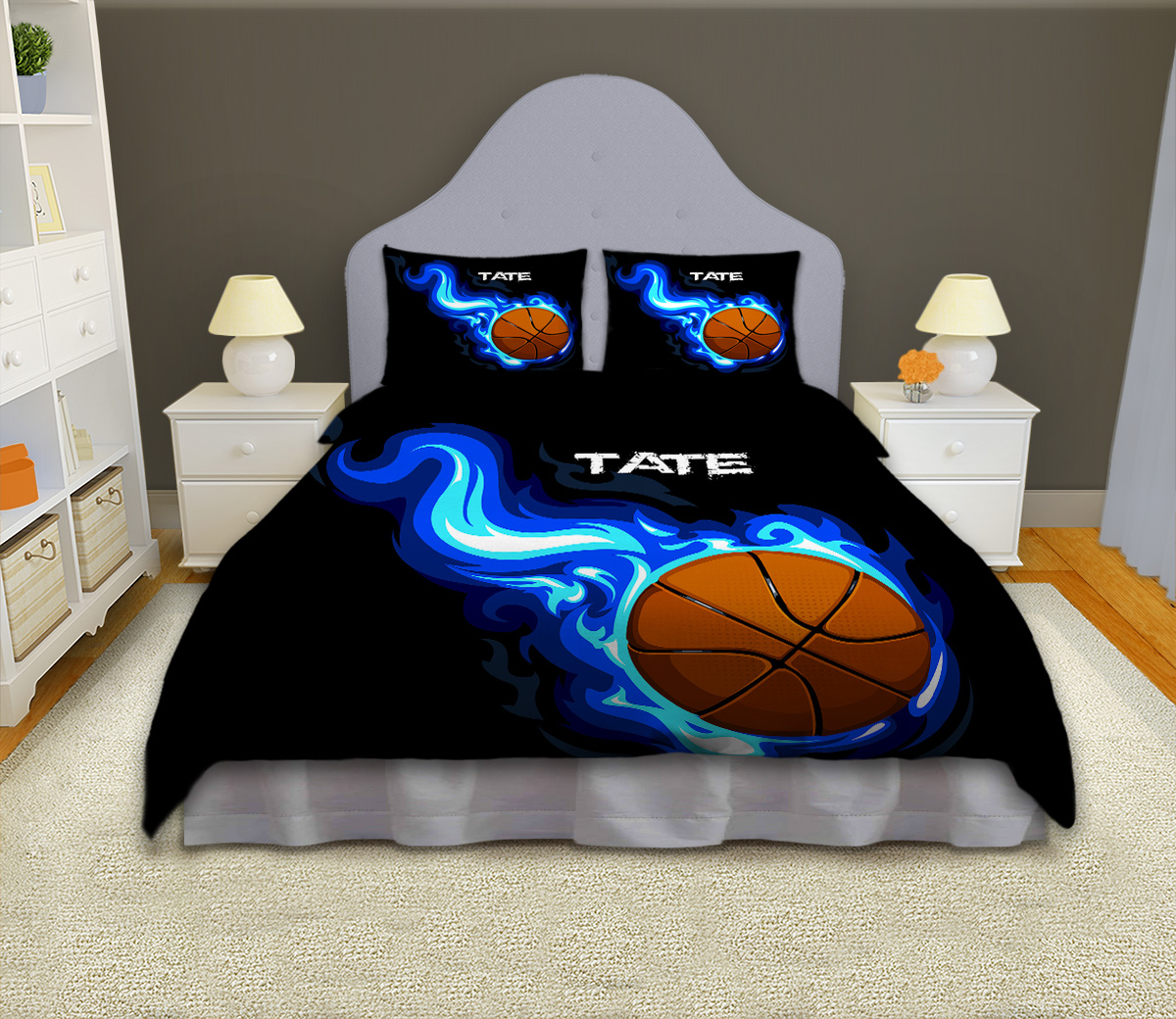 Boys Basketball Personalized Comforter Set, Sports Bedding
