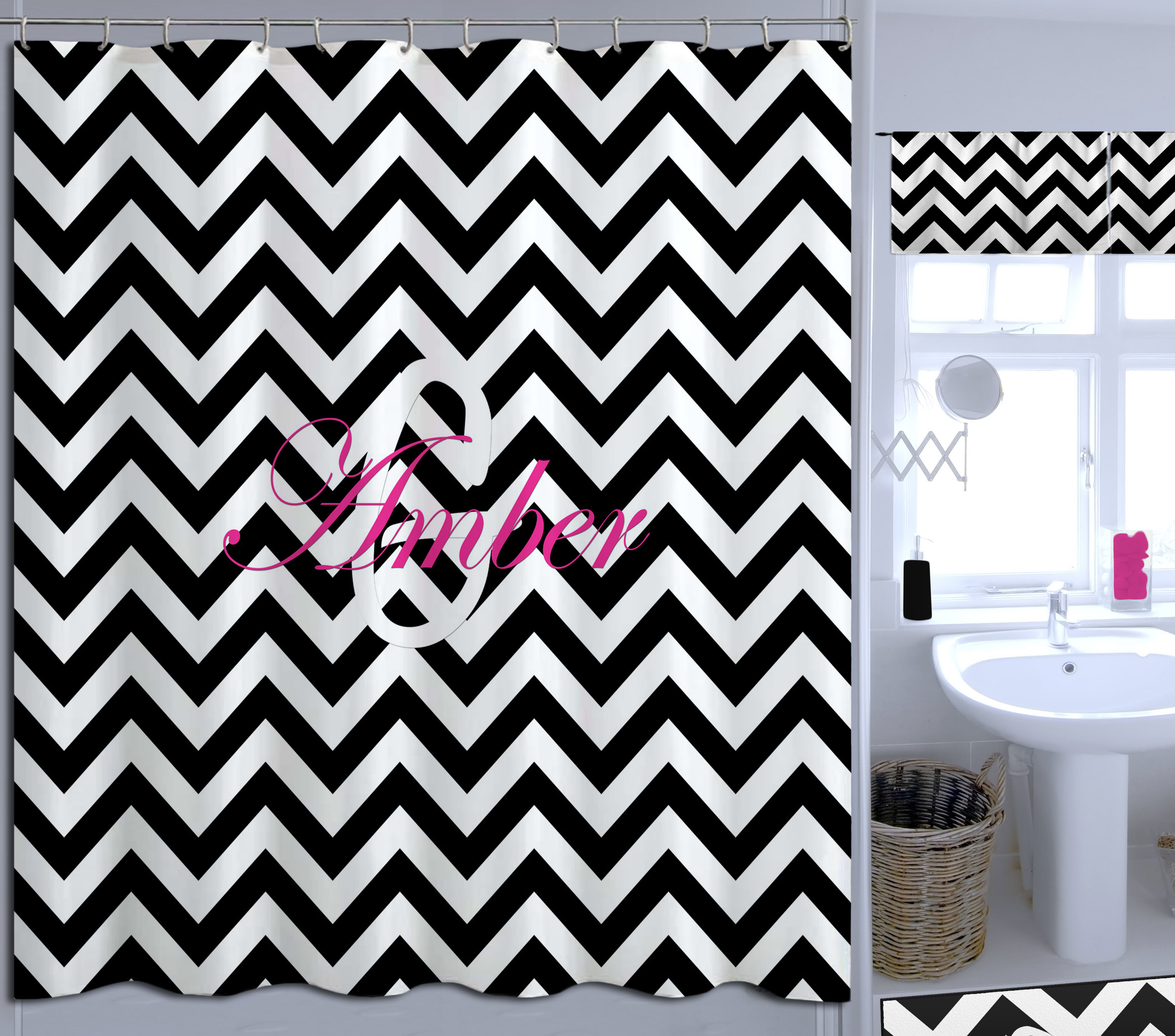 Black And White College Shower Curtain Chevron Print Is Great In