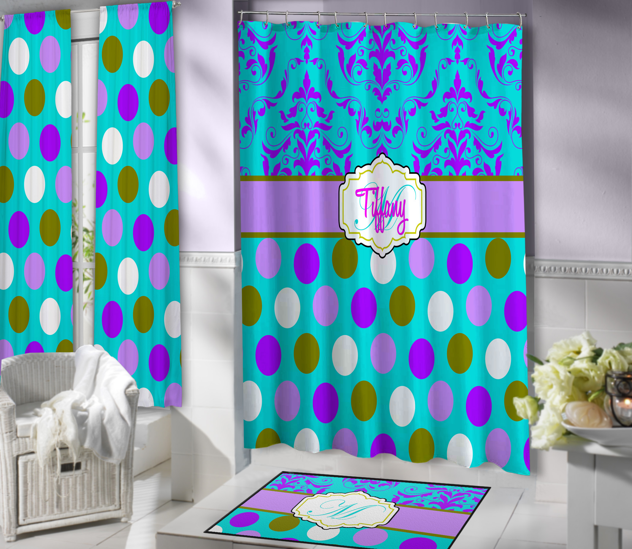 Purple And Teal Polka Dot Shower Curtain With Hints Of