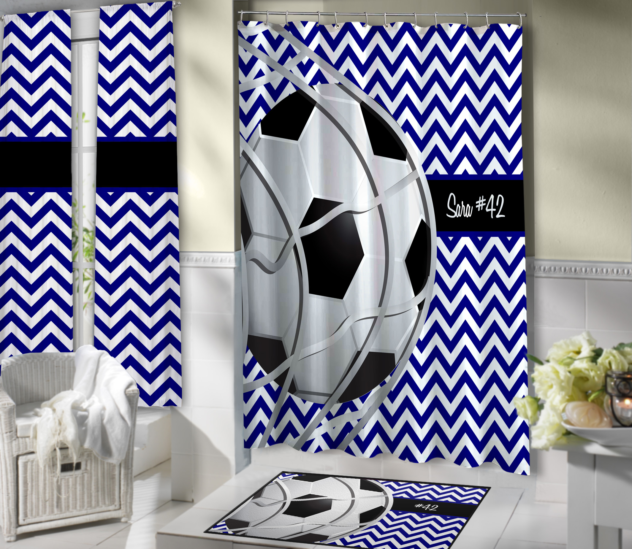 Blue And White Soccer Shower Curtain Kids Sports Theme