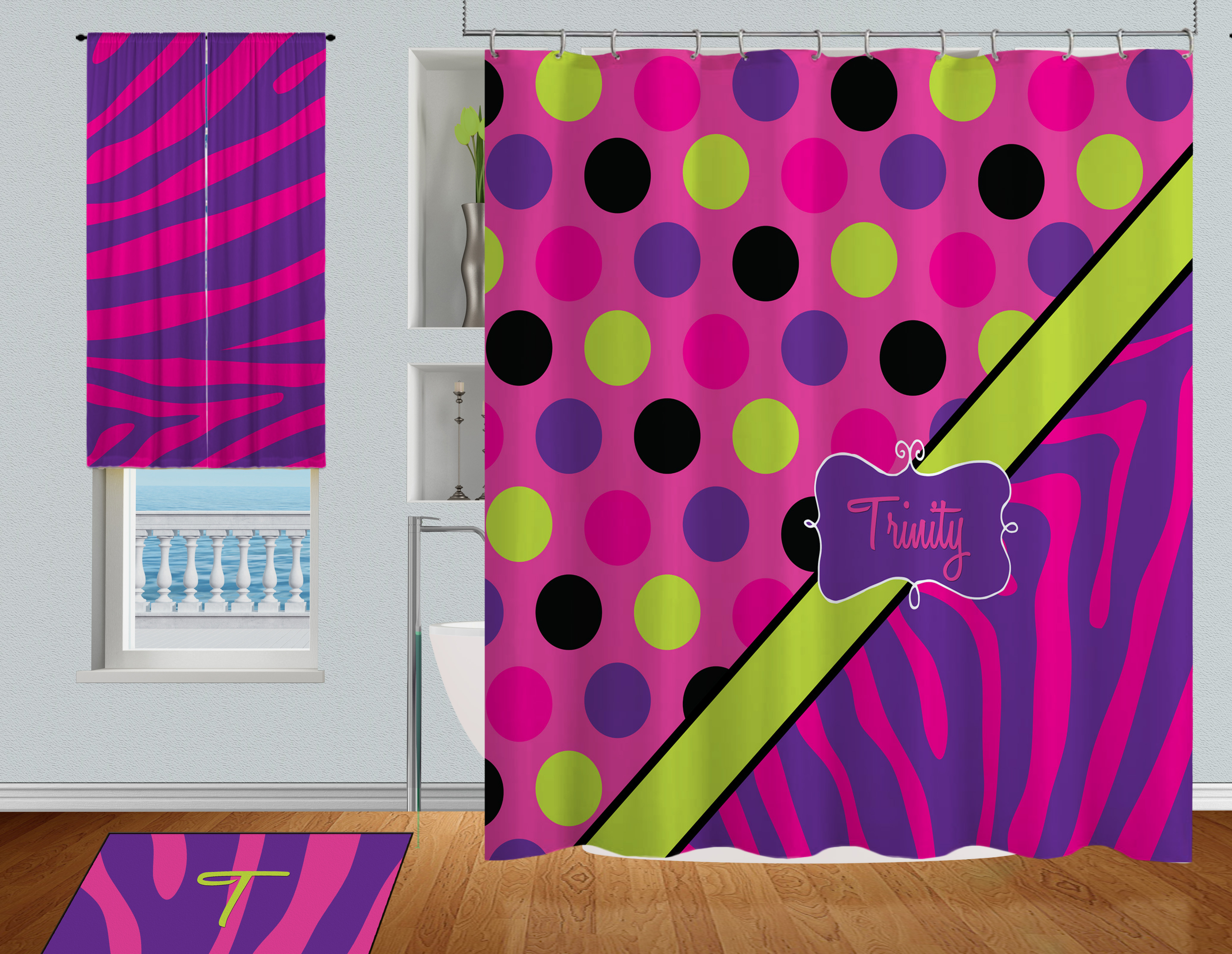 Bright colored kids shower curtain zebra print pink Colorful shower curtains