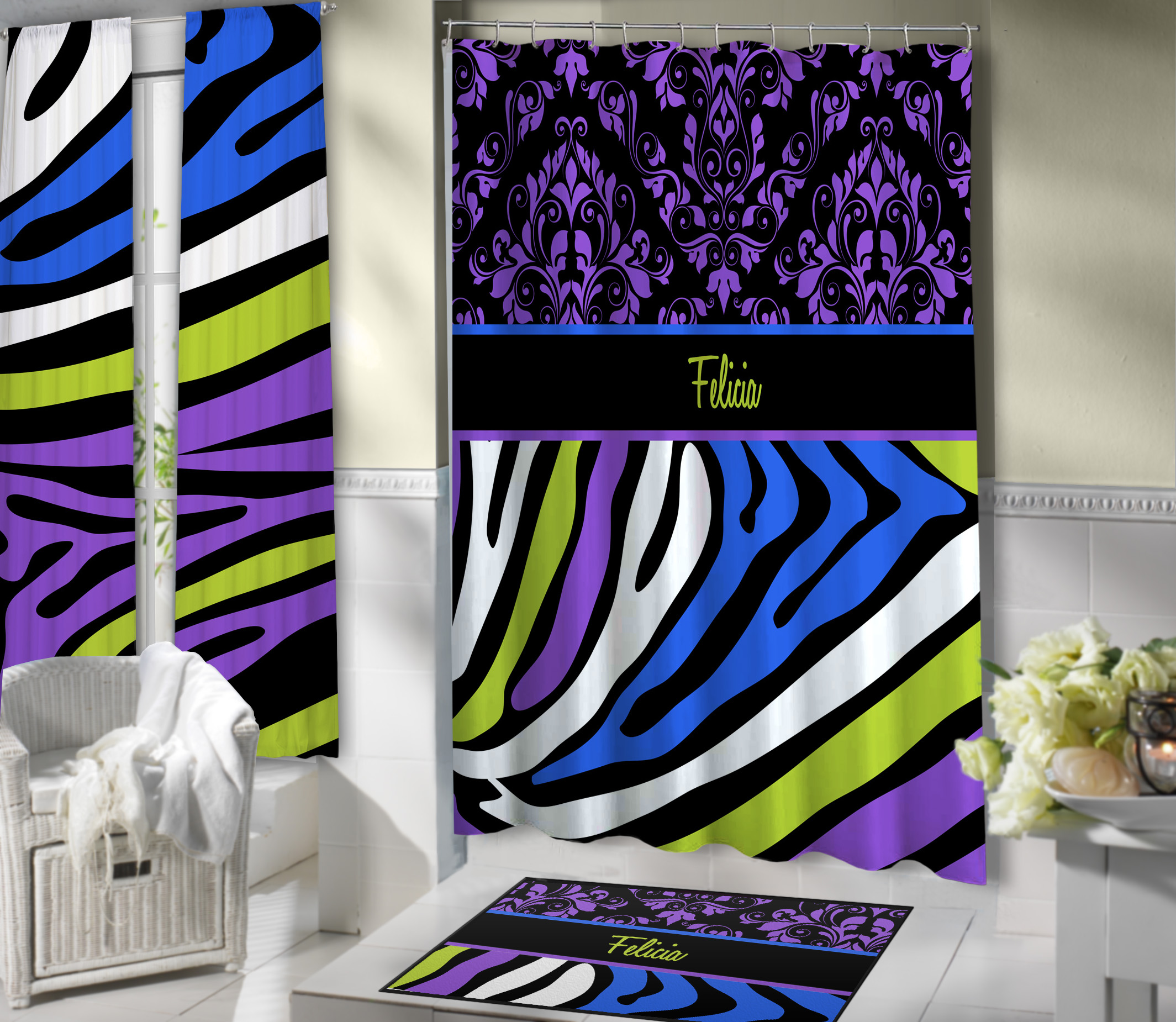 Colorful Purple Damask Shower Curtain With Bright Colored Zebra Print 140 Eloquent Innovations