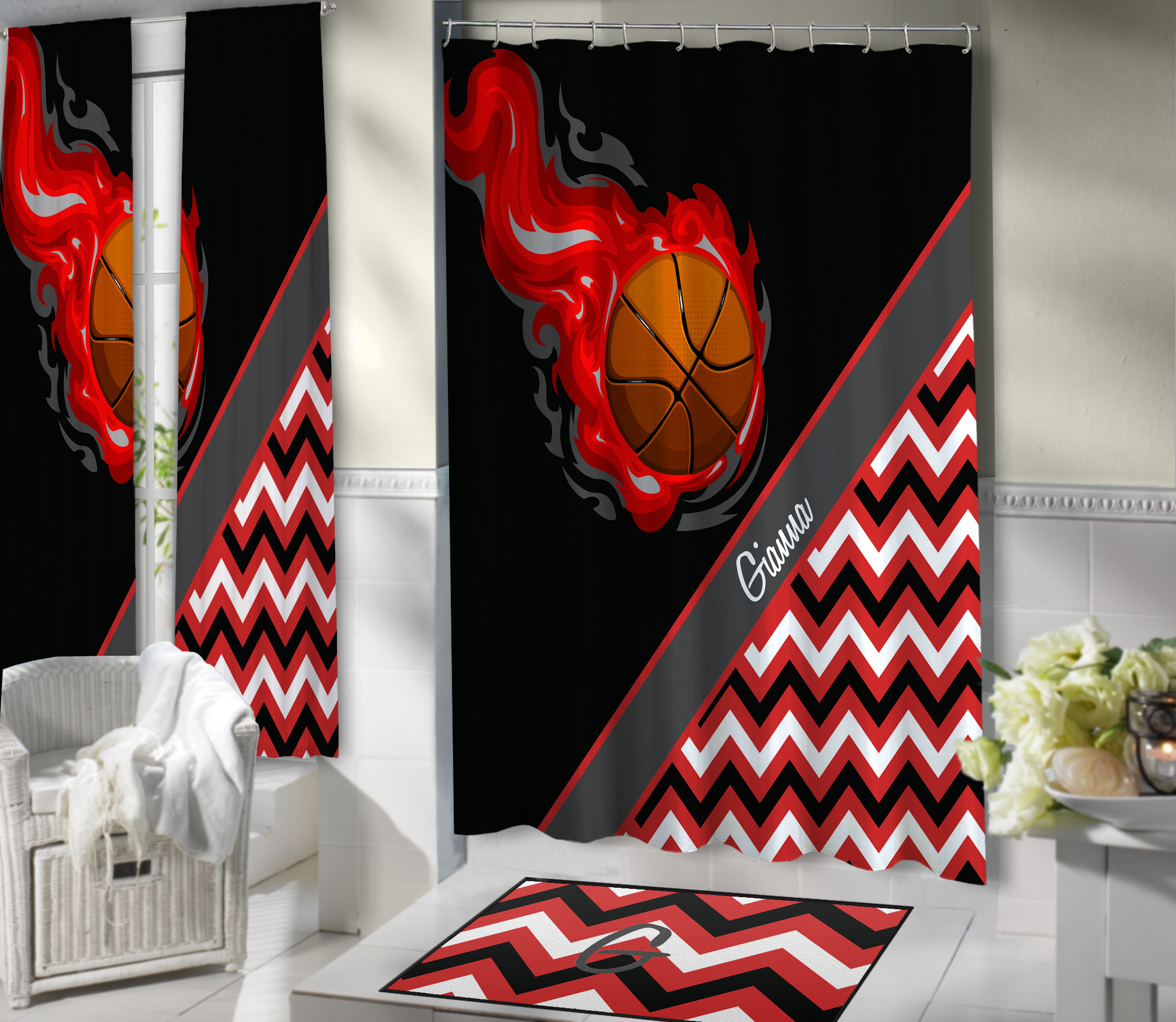 Red And Black Basketball Fabric Shower Curtain For Girls
