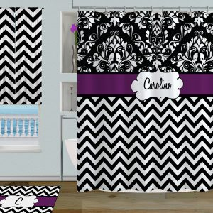 black white chevron shower curtain. Black and White Damask Print Shower Curtain with Purple Personalization  56 Fabric Contemporary Curtains Bathroom