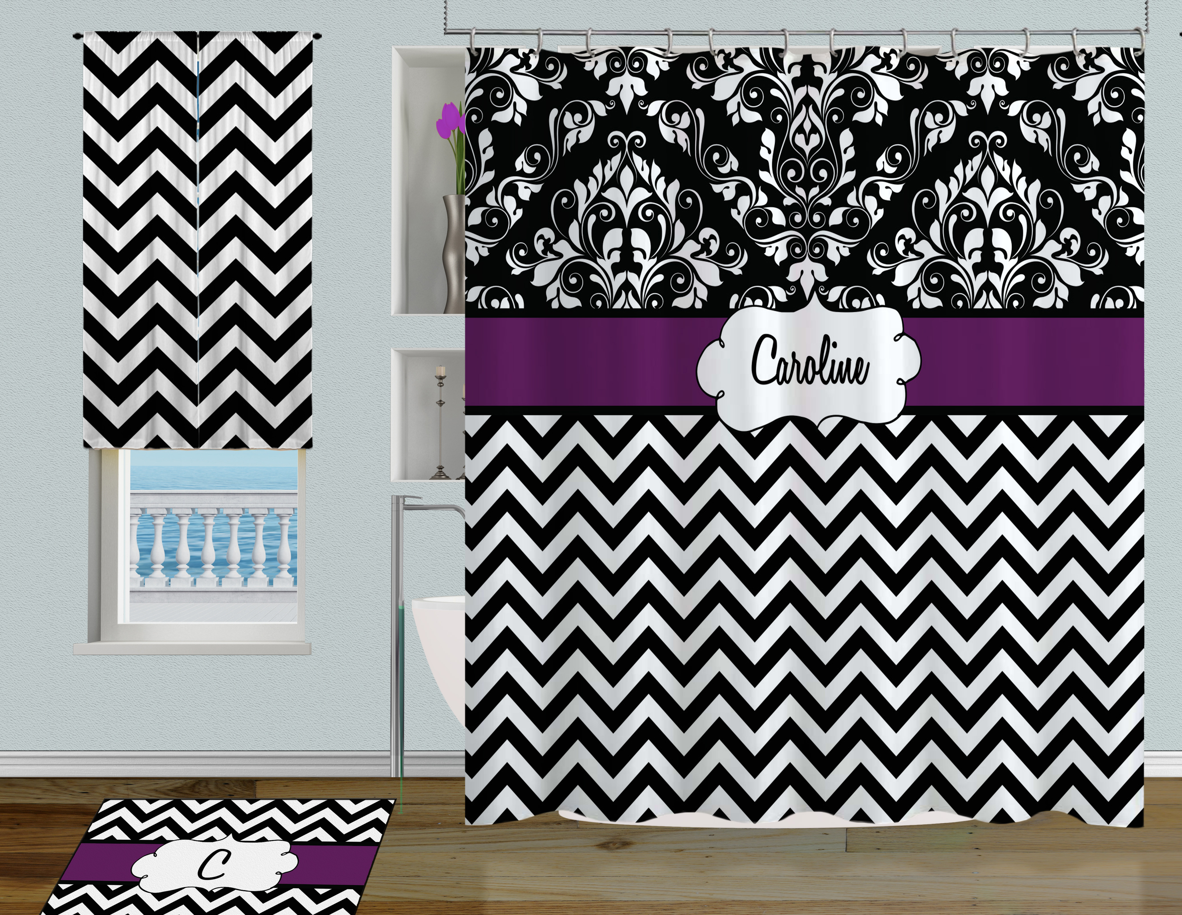 Chevron Shower Black White