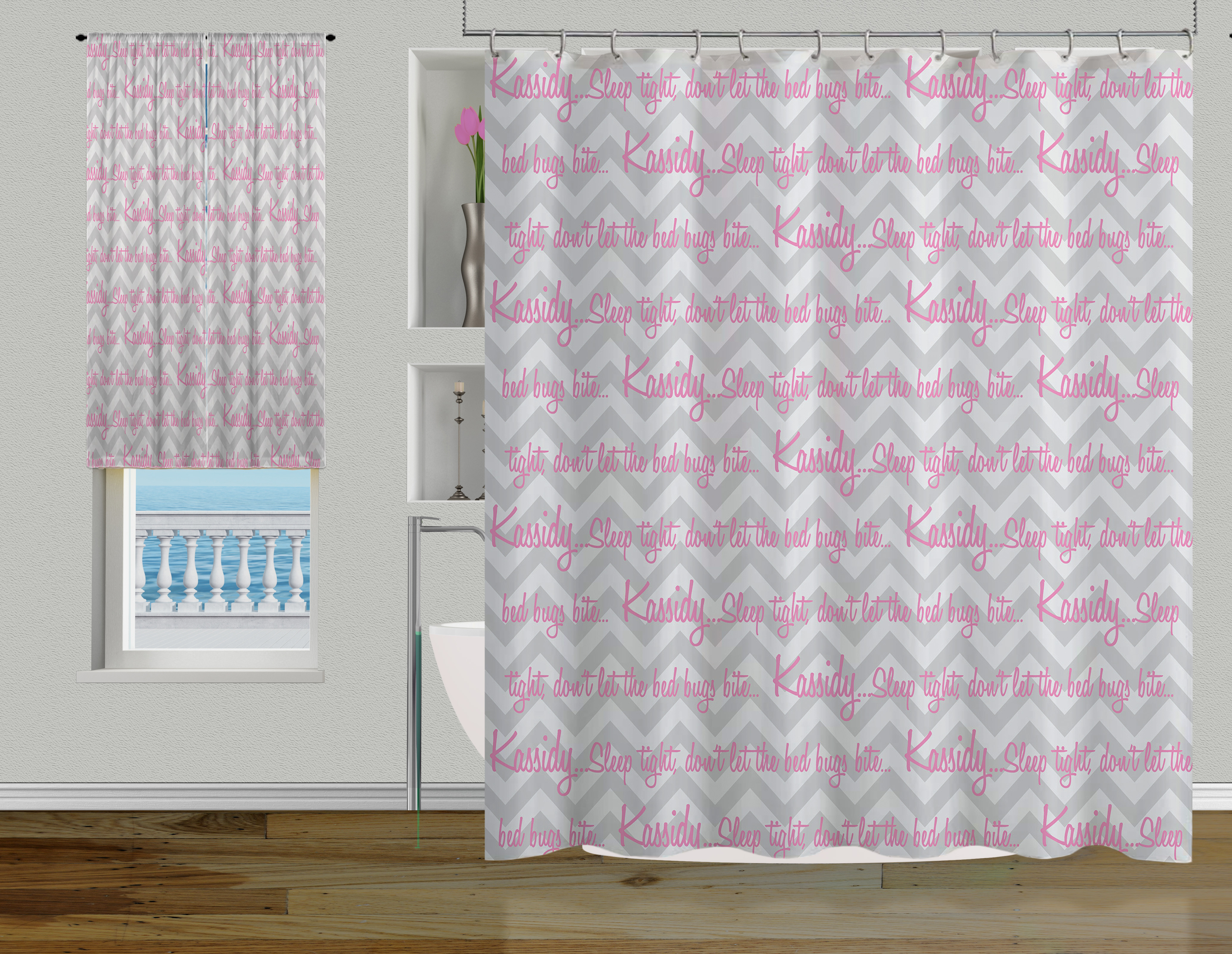 Gray Modern Chevron Shower Curtain Designer Pink Fabric 27