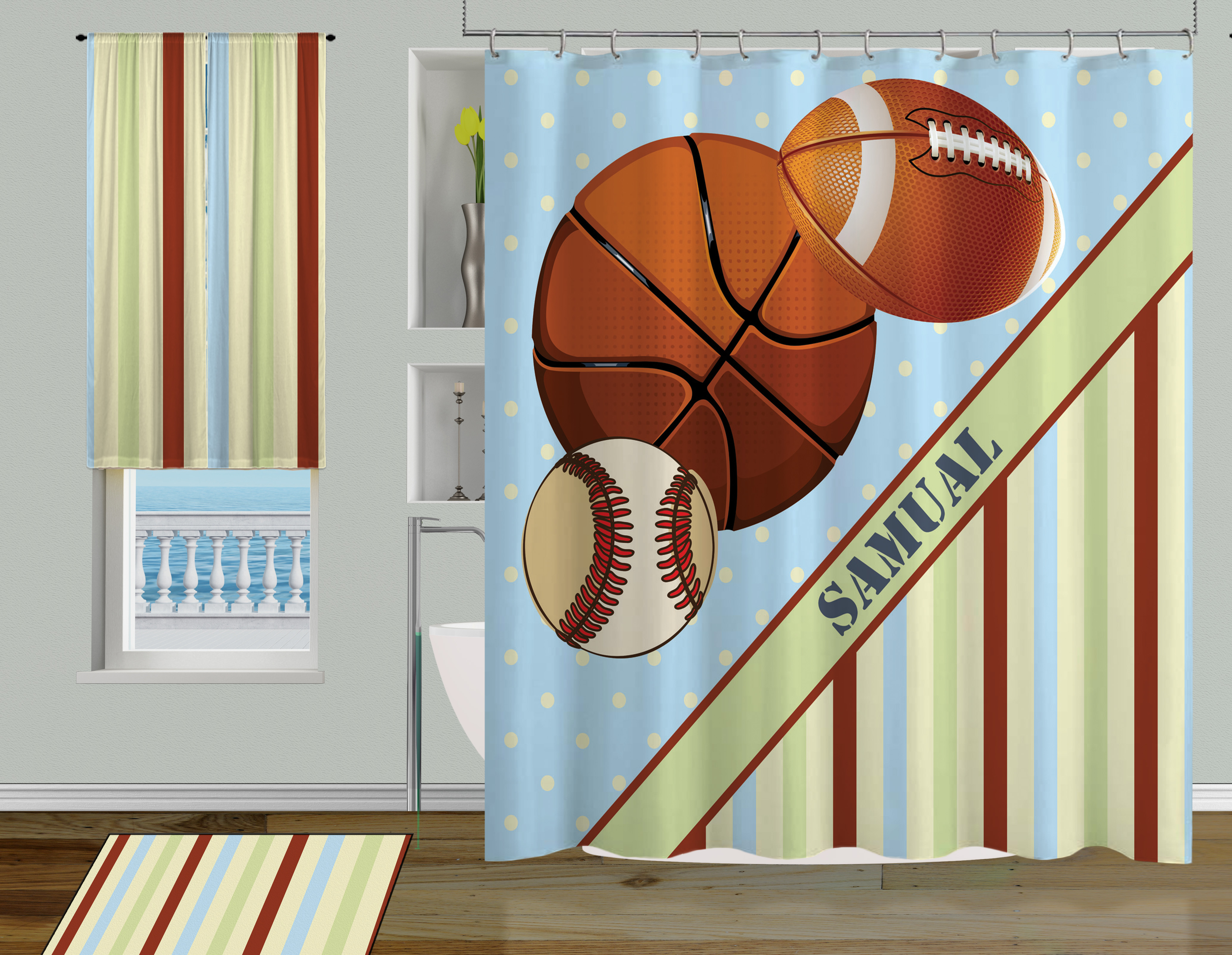 Boys Sports Shower Curtain Football Baseball And Basketball