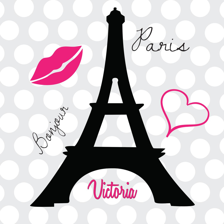 Eiffel Tower Paris Print Bedding With Poodle Polka Dot
