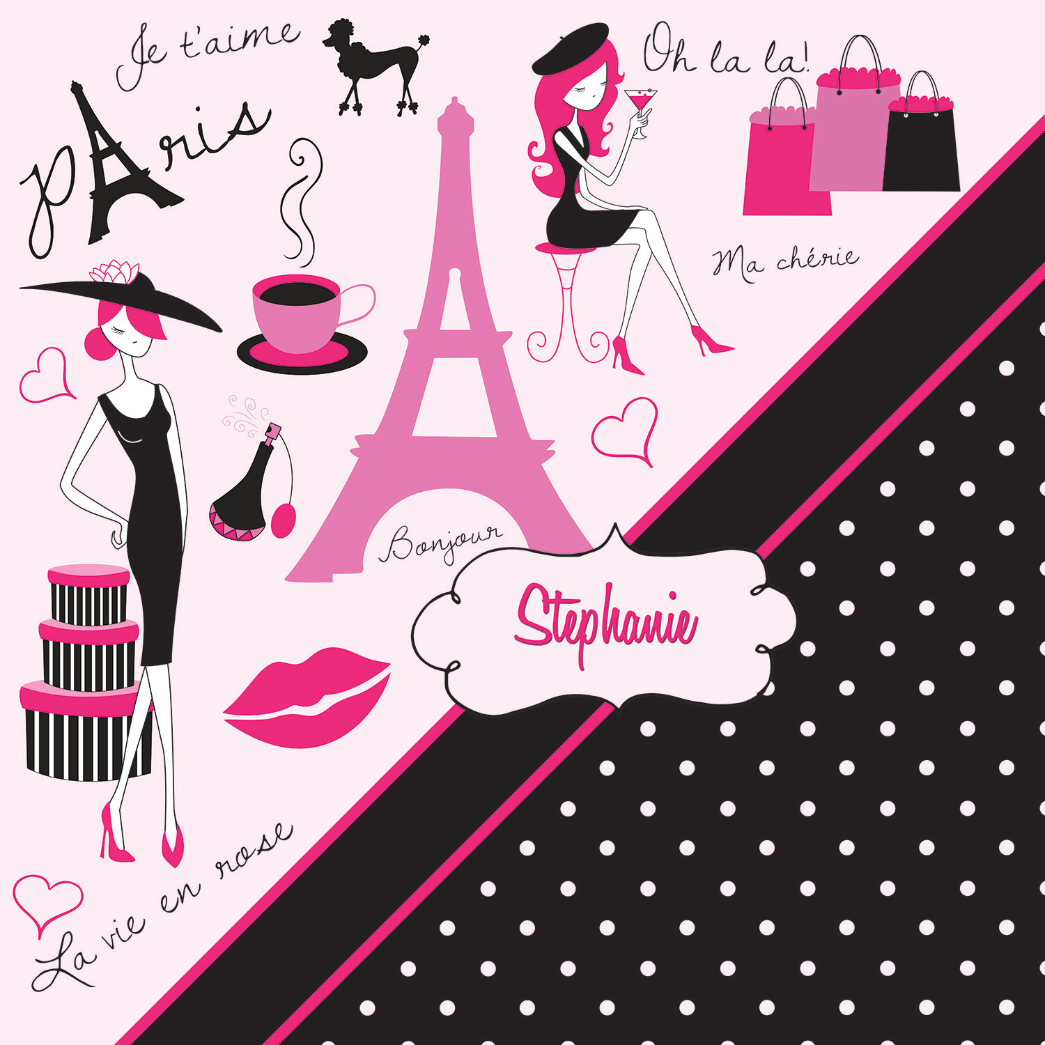 Paris Polka Dot Themed Bathroom Decor, Pink & Black Paris Shower ...