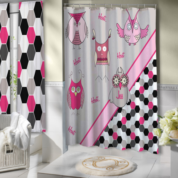 Pink Beige Owl Shower Curtain Girls Art Deco Bathroom And