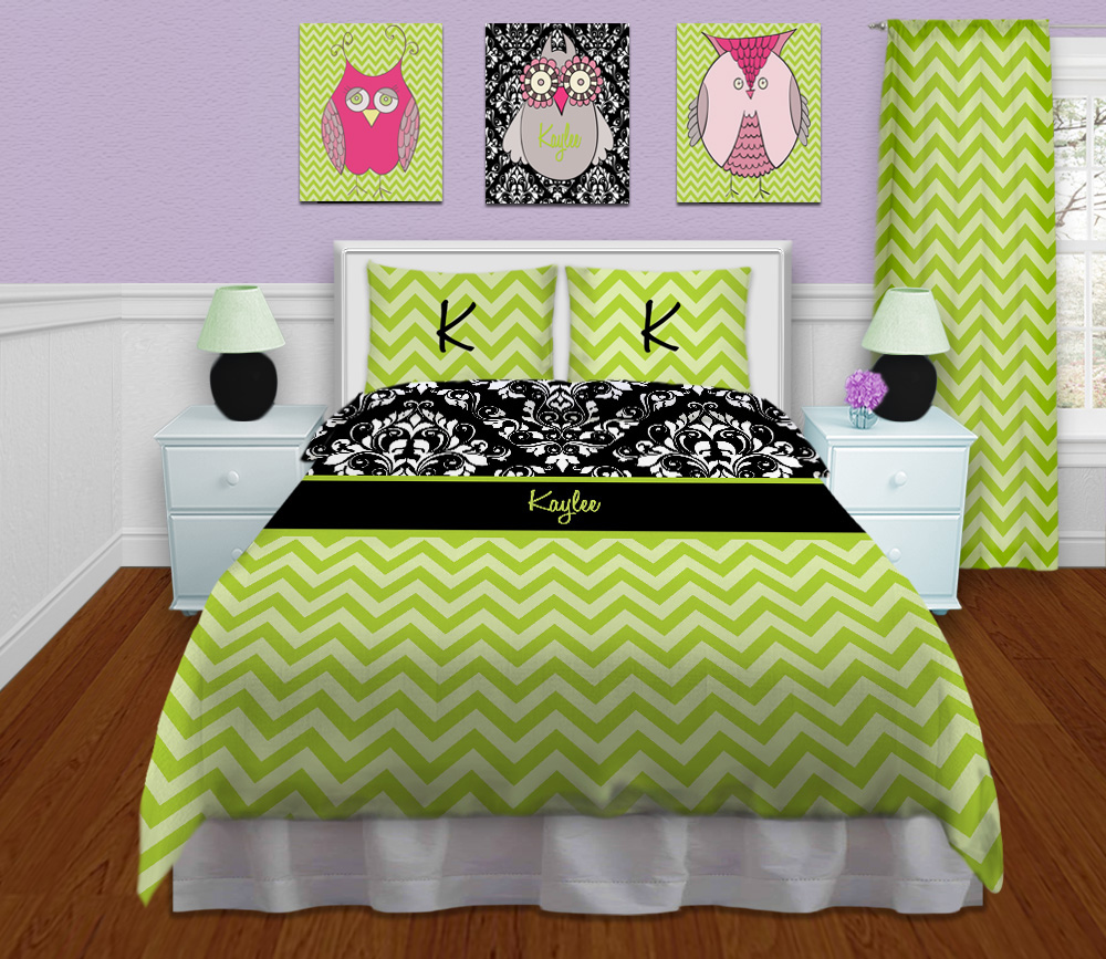 Modern Green Kids Bedding Damask Black And White Print
