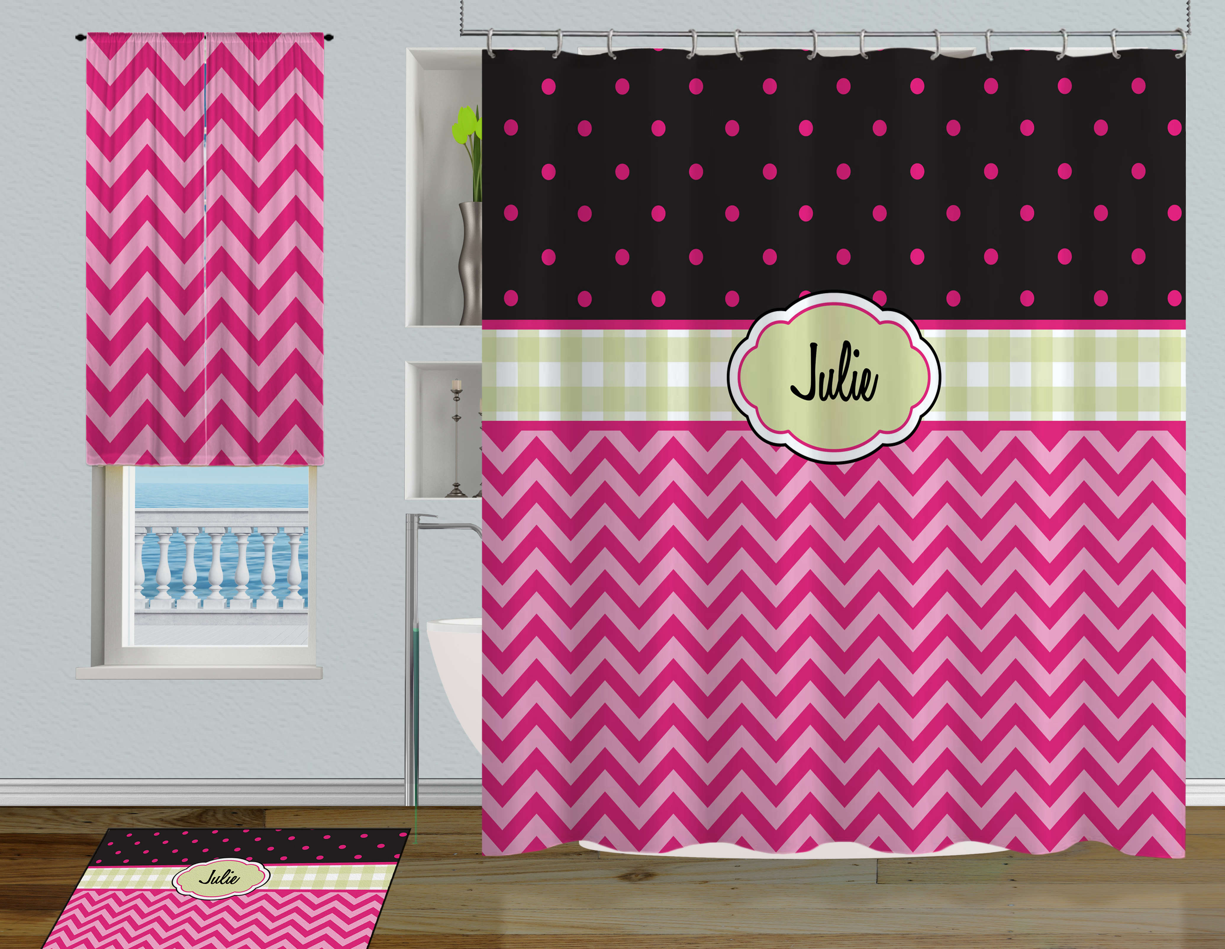 Pink And Green Polka Dot Childrens Shower Curtain With Chevron