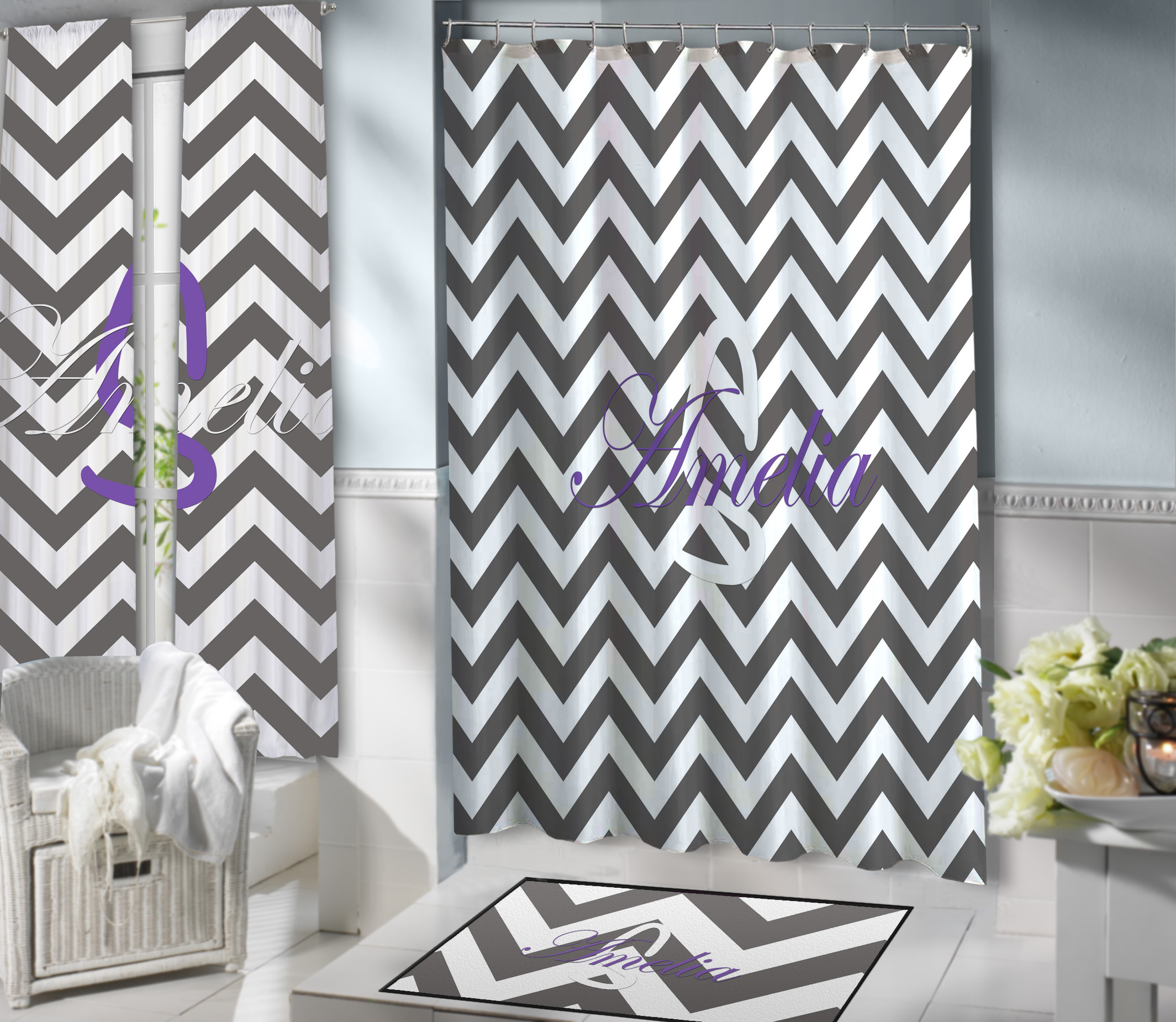 Teen Gray and White Chevron Fabric Shower Curtain with