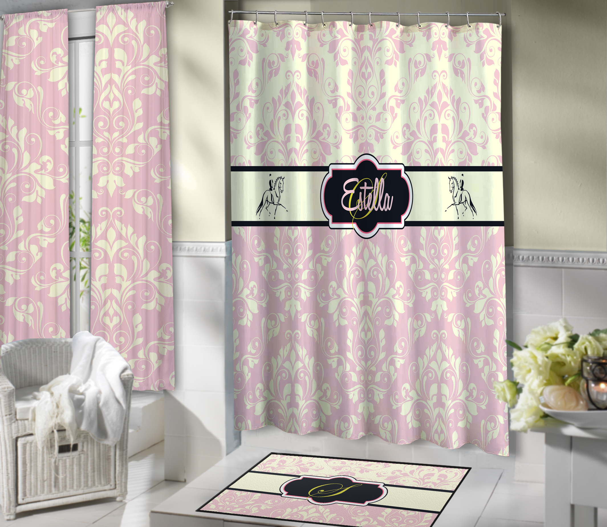 Horse Cream And Pink Colored Shower Curtain Personalized On Black Border 14