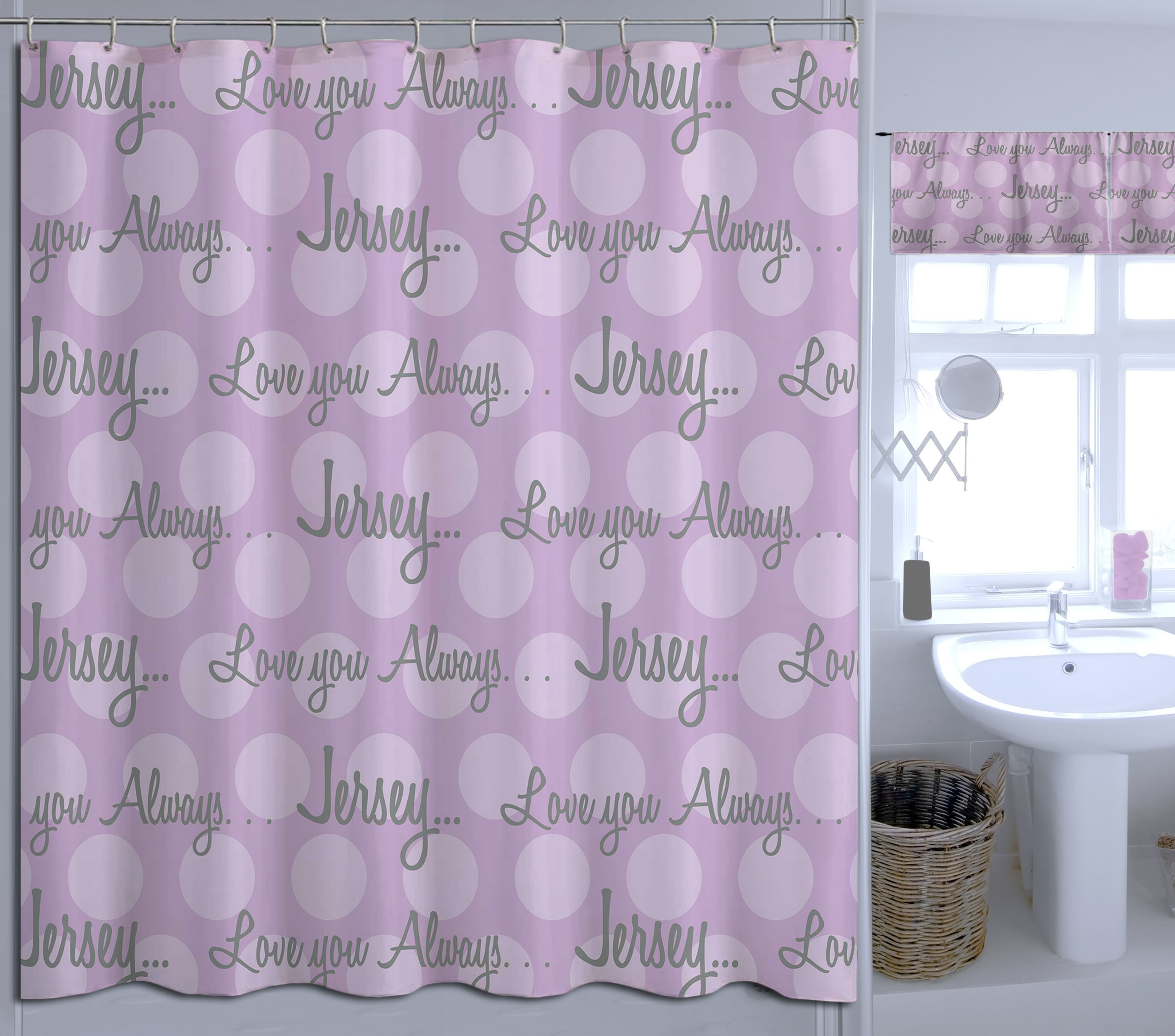 Kids Personalized Purple Polka Dot Shower Curtain Add Your Own