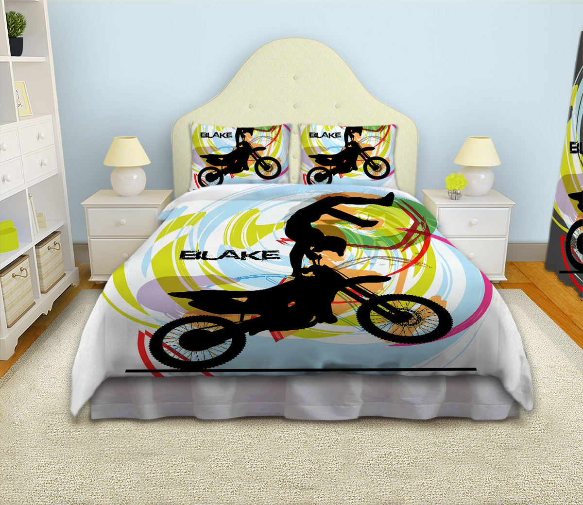 Motocross Comforter For Boys White Bedding Set For Kids