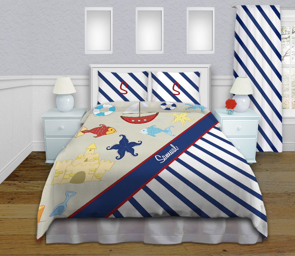 Blue And White Kids Nautical Striped Bedding Boys Boat