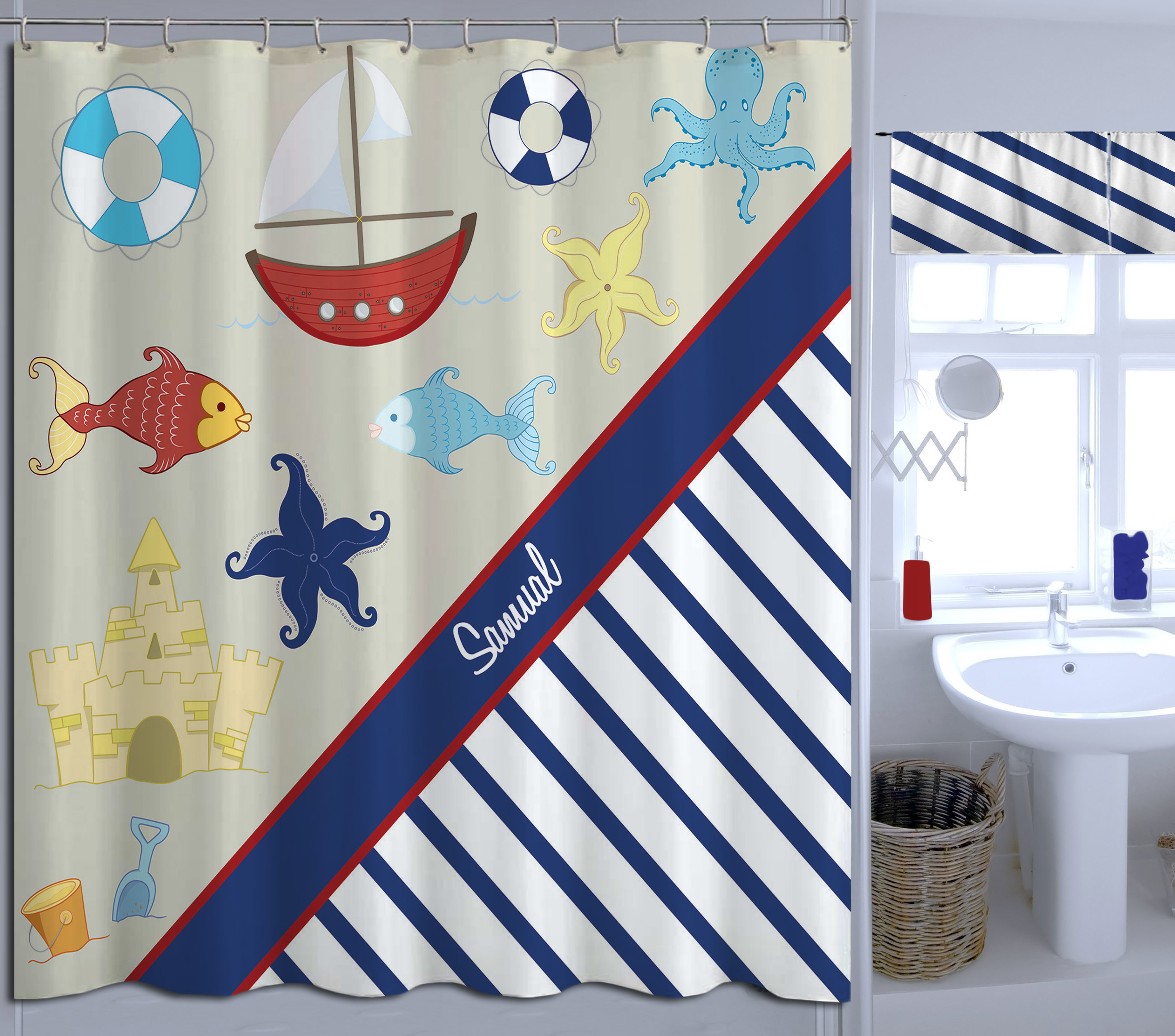Nautical Navy And White Striped Shower Curtain Extra Long