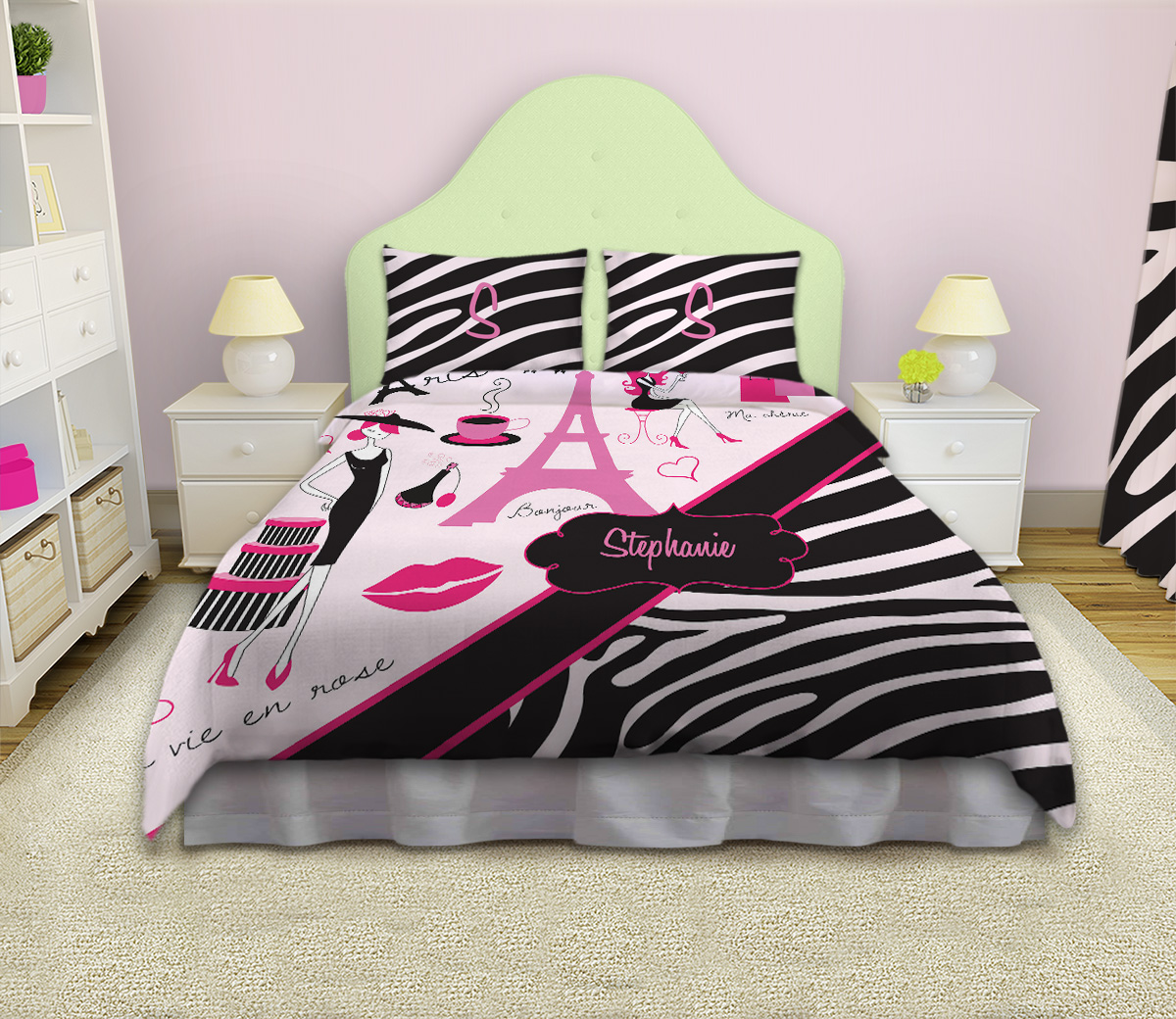 Eiffel Tower Girls Bedding With Paris Theme With Black And