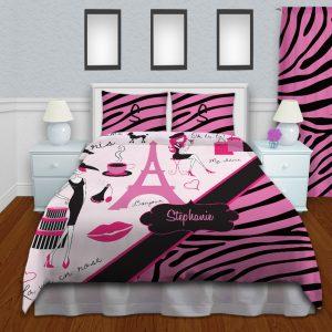 Pink And Black Kids Zebra Print Bedding, Girls Paris Themed Bedding #14
