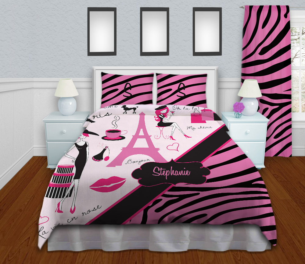 Pink And Black Kids Zebra Print Bedding Girls Paris