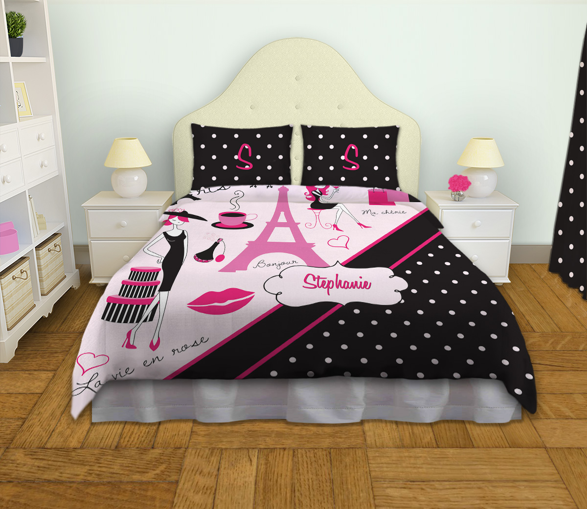 Polka Dot Personalized Duvet Cover And Eiffel Tower Pink