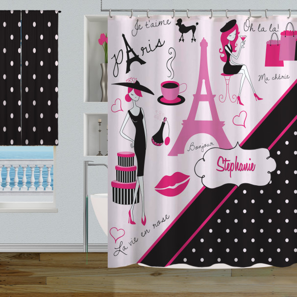 paris polka dot themed bathroom decor, pink & black paris shower