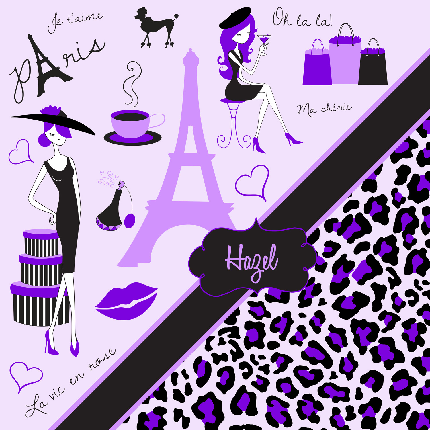 Purple Bedding In Paris Theme And Cheetah Print 148