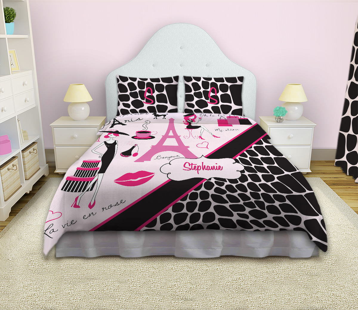 Animal Print Pink And Black Paris Bedding With