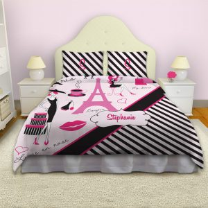Paris-Stripes-Pink-Black-Comforter