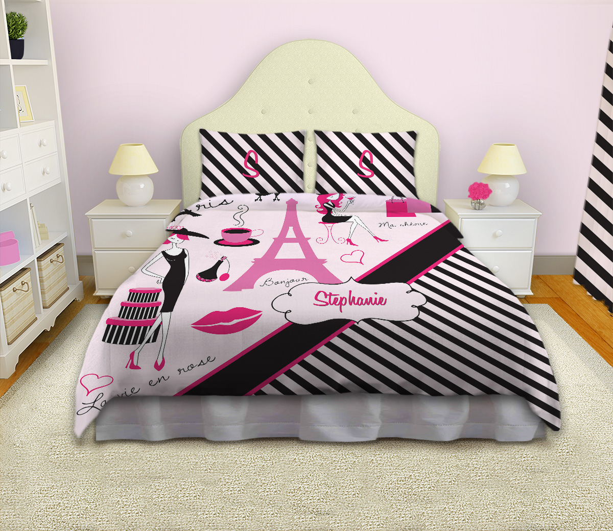 black and white striped girls comforter paris fashion bedding 17 eloquent innovations. Black Bedroom Furniture Sets. Home Design Ideas